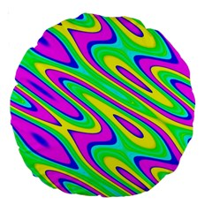 Lilac Yellow Wave Abstract Pattern Large 18  Premium Round Cushions