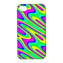 Lilac Yellow Wave Abstract Pattern Apple Iphone 4/4s Hardshell Case With Stand
