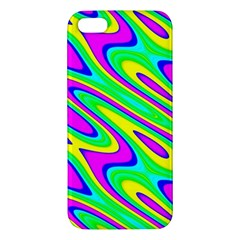 Lilac Yellow Wave Abstract Pattern Apple Iphone 5 Premium Hardshell Case