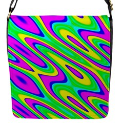 Lilac Yellow Wave Abstract Pattern Flap Messenger Bag (s)