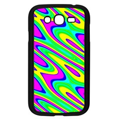 Lilac Yellow Wave Abstract Pattern Samsung Galaxy Grand Duos I9082 Case (black)