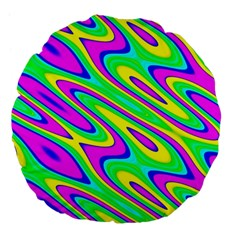 Lilac Yellow Wave Abstract Pattern Large 18  Premium Flano Round Cushions