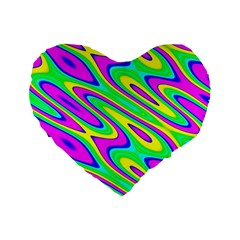 Lilac Yellow Wave Abstract Pattern Standard 16  Premium Flano Heart Shape Cushions