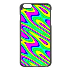 Lilac Yellow Wave Abstract Pattern Apple Iphone 6 Plus/6s Plus Black Enamel Case