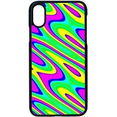 Lilac Yellow Wave Abstract Pattern Apple Iphone X Seamless Case (black)