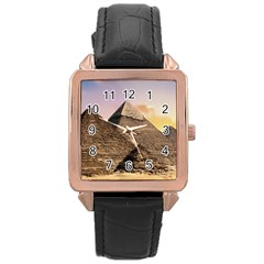Pyramids Egypt Rose Gold Leather Watch