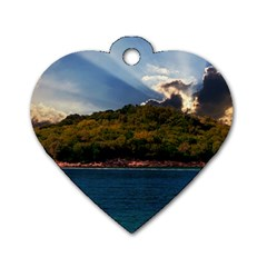 Island God Rays Sky Nature Sea Dog Tag Heart (one Side)