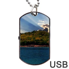 Island God Rays Sky Nature Sea Dog Tag Usb Flash (one Side)