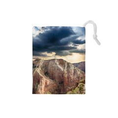 Nature Landscape Clouds Sky Rocks Drawstring Pouches (small)