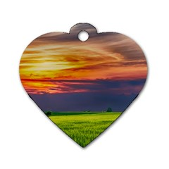 Countryside Landscape Nature Rural Dog Tag Heart (one Side)