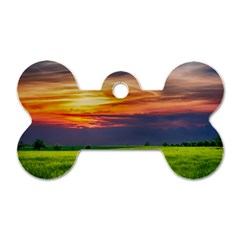 Countryside Landscape Nature Rural Dog Tag Bone (one Side)