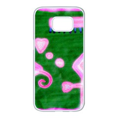 Hearts For The Pink Cross Samsung Galaxy S7 Edge White Seamless Case