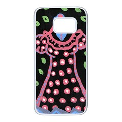 Dress And Falling Leaves Samsung Galaxy S7 White Seamless Case