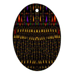 Hot As Candles And Fireworks In Warm Flames Oval Ornament (two Sides)