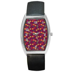 Heart Cherries Magenta Barrel Style Metal Watch