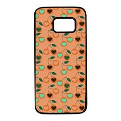 Peach Cherries Samsung Galaxy S7 Black Seamless Case