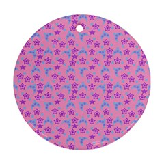 Pink Star Blue Hats Round Ornament (two Sides)