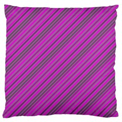 Pink Violet Diagonal Lines Large Flano Cushion Case (two Sides)