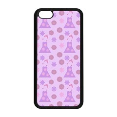 Violet Pink Flower Dress Apple Iphone 5c Seamless Case (black)