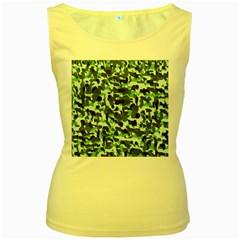 Green Camo Women s Yellow Tank Top