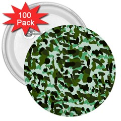 Green Camo 3  Buttons (100 Pack)