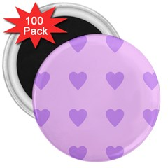 Violet Heart 3  Magnets (100 Pack)