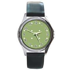 Olive Dots Round Metal Watch