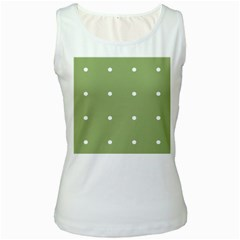 Olive Dots Women s White Tank Top