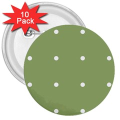 Olive Dots 3  Buttons (10 Pack)