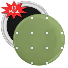 Olive Dots 3  Magnets (10 Pack)