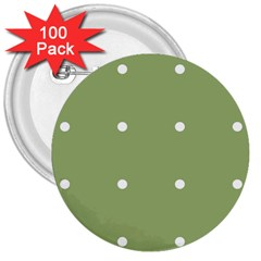 Olive Dots 3  Buttons (100 Pack)