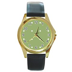 Olive Dots Round Gold Metal Watch
