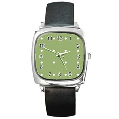 Olive Dots Square Metal Watch