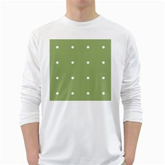 Olive Dots White Long Sleeve T Shirts