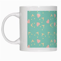 Teal Hearts And Hats White Mugs
