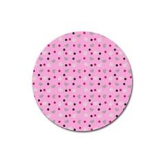 Pink Milk Hearts Magnet 3  (round)