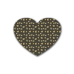 Charcoal Grey  Milk Hearts Rubber Coaster (heart)