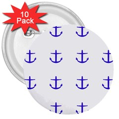 Royal Anchors On White 3  Buttons (10 Pack)