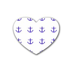 Royal Anchors On White Rubber Coaster (heart)