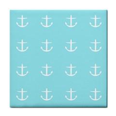 Aqua Anchor Tile Coasters