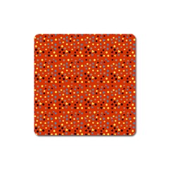 Red Retro Dots Square Magnet