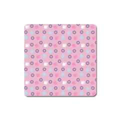 Milk And Donuts Pink Square Magnet
