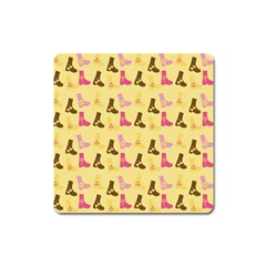 Beige Boots Square Magnet