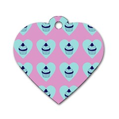 Cupcakes In Pink Dog Tag Heart (two Sides)