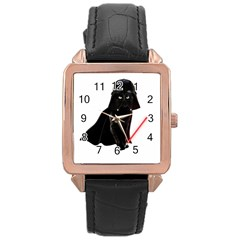 Darth Vader Cat Rose Gold Leather Watch