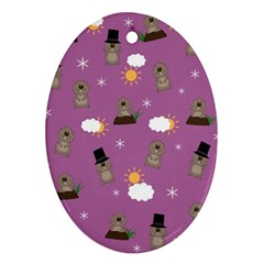 Groundhog Day Pattern Oval Ornament (two Sides)