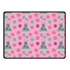 Green Dress Pink Fleece Blanket (small)