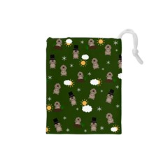 Groundhog Day Pattern Drawstring Pouches (small)
