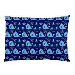 Blue Sea Whales Pillow Case (two Sides)