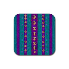 Peace Be With Us This Wonderful Year In True Love Rubber Square Coaster (4 Pack)